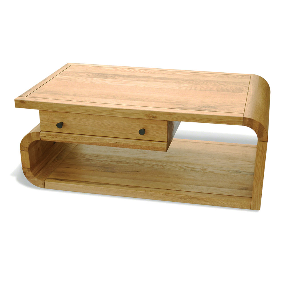 Coffee Table With Drawer Natural Retro Oak Quality Furniture