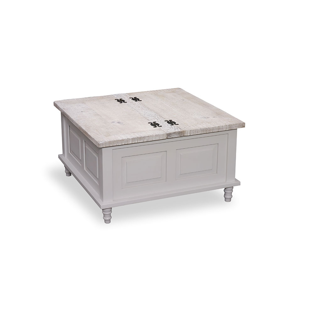 - Square Coffee Table Trunk - White - Beach House Painted Furniture