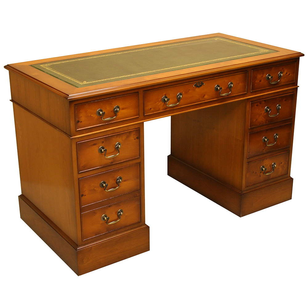 4 X 2 Secretary Pedestal Desk In Mahogany Or Yew Reproduction