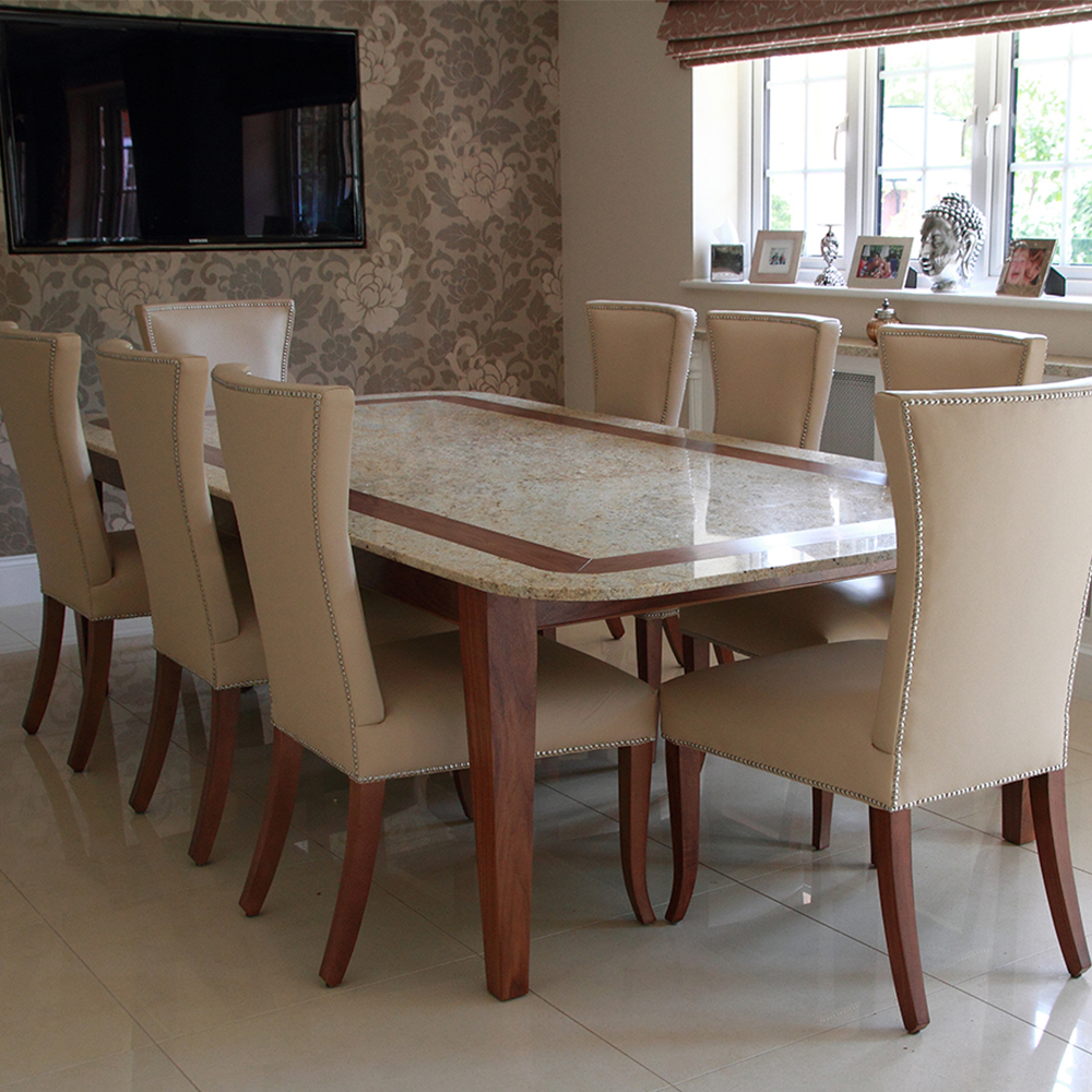 Stone and timber dining table