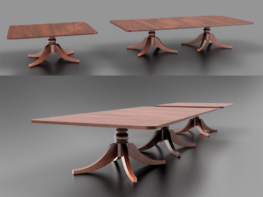Cad Model of Bespoke Mahogany Dining Table