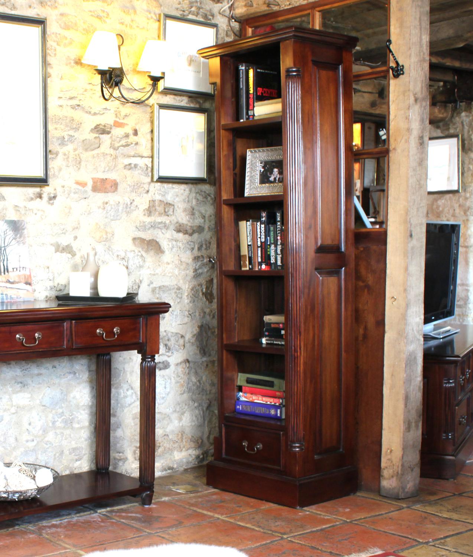 Narrow Tall Bookcase Unique Living Solid Mahogany