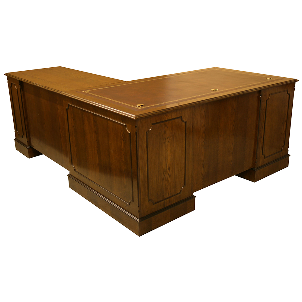 L' Shape Desk in Oak finish with Oxblood Leather Top.